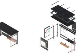 Přístřešek MHD isometrický rozložený pohled